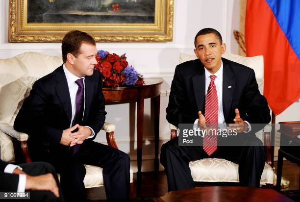S President Barack Obama speaks during a bilateral meeting with Russian President Dimitri Medvedev at the Waldorf Astoria September 23 2009 in New...