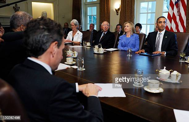 S President Barack Obama speaks during a Cabinet meeting as Treasury Secretary Timothy Geithner US Secretary of Health and Human Services Kathleen...