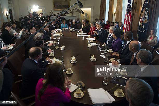 US President Barack Obama speaks during a Cabinet Meeting in the Cabinet Room of the White House in Washington DC February 3 2015 AFP PHOTO / SAUL...