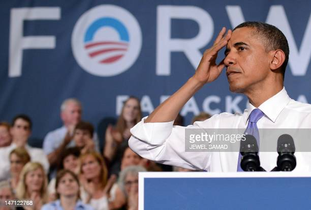 US President Barack Obama speaks during a campaign event at a school in Durham New Hampshire on June 25 2012 Obama has opened up a doubledigit lead...