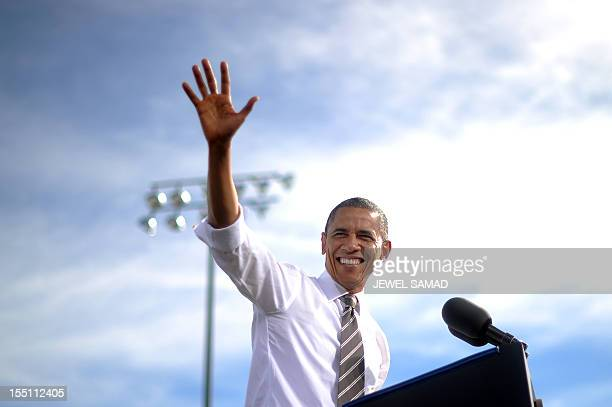 President Barack Obama speaks during a campaign rally at the Cheyenne Sports Complex in Las Vegas, Nevada, on November 1, 2012. AFP PHOTO/Jewel Samad