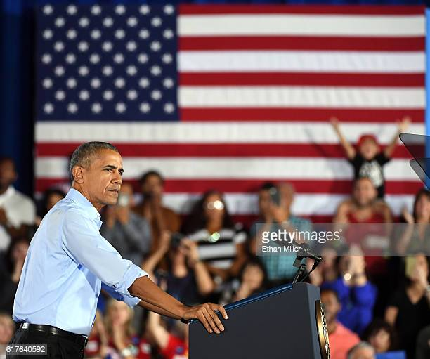S President Barack Obama speaks during a campaign rally for Democratic presidential nominee Hillary Clinton at Cheyenne High School on October 23...