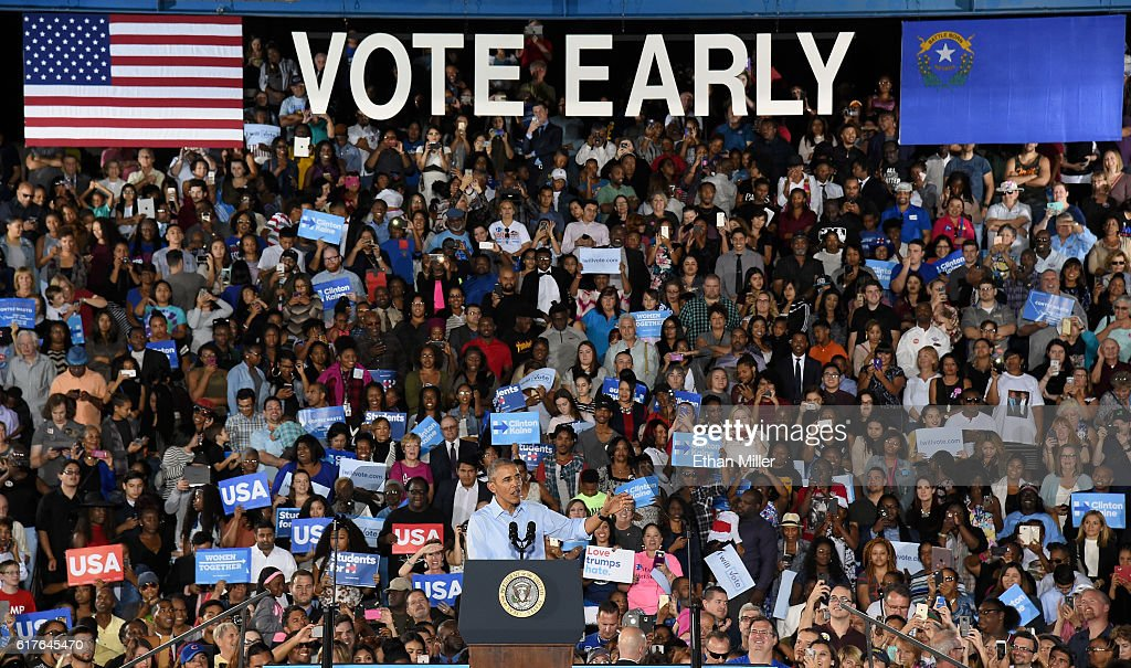 U.S. President Barack Obama speaks during a campaign rally for Democratic presidential nominee Hillary Clinton at Cheyenne High School on October 23, 2016 in North Las Vegas, Nevada. Obama urged Nevadans to vote early one day after a record-breaking start to early voting in the swing state with almost 40,000 people going to the polls ahead of the November 8 general election.