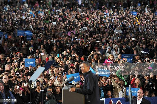 US President Barack Obama speaks during a campaign rally in Aurora Colorado on November 4 2012 Obama and Republican rival Mitt Romney are both...