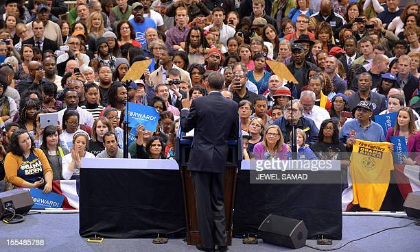 US President Barack Obama speaks during a campaign rally in Cincinnati Ohio on November 4 2012 Obama and Republican rival Mitt Romney are both...