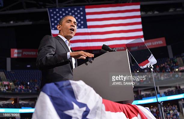 US President Barack Obama speaks during a campaign rally in Columbus Ohio on November 5 2012 After a grueling 18month battle the final US campaign...