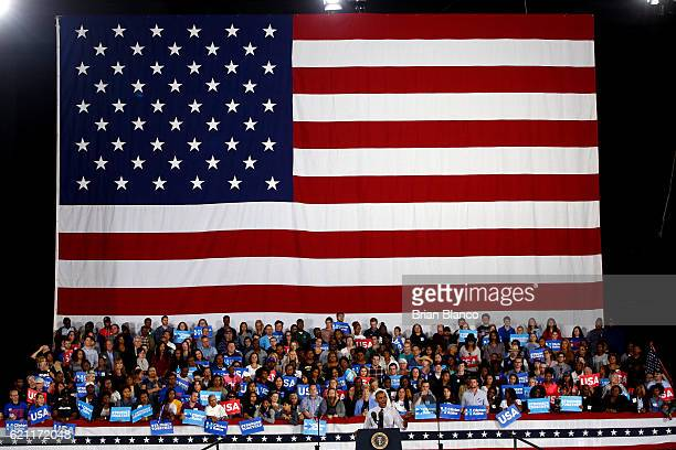 S President Barack Obama speaks during a campaign rally in support of Democratic presidential candidate Hillary Clinton on November 4 2016 at the PNC...