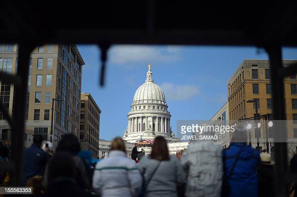 US President Barack Obama speaks during a campaign rally near the Capitol building in Madison Wisconsin on November 5 2012 After a grueling 18month...