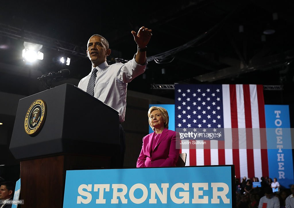 U.S. president Barack Obama speaks during a campaign rally with democratic presidential candidate former Secretary of State Hillary Clinton on July 5, 2016 in Charlotte, North Carolina. Hillary Clinton is campaigning with president Obama in North Carolina.
