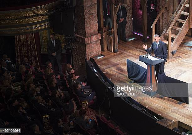 US President Barack Obama speaks during a Democratic fundraiser following a special performance of the Broadway show 'Hamilton' at the Richard...
