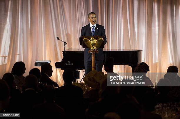 US President Barack Obama speaks during a dinner for participants of the US Africa Leaders Summit August 5 2014 in Washington DC AFP PHOTO/Brendan...