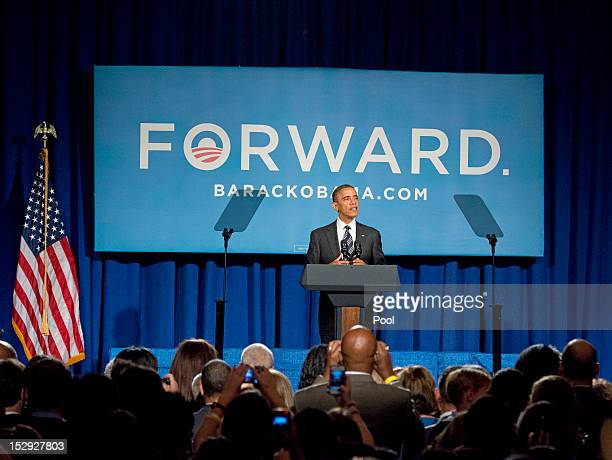 S President Barack Obama speaks during a fundraiser event at the Capital Hilton Hotel September 28 2012 in Washington DC Obama will reportedly speak...