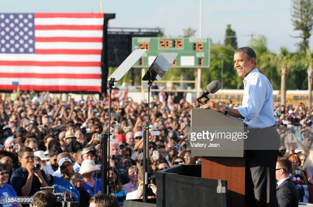 S President Barack Obama speaks during a grassroots campaign event at McArthur High School on November 4 2012 in Hollywood Florida