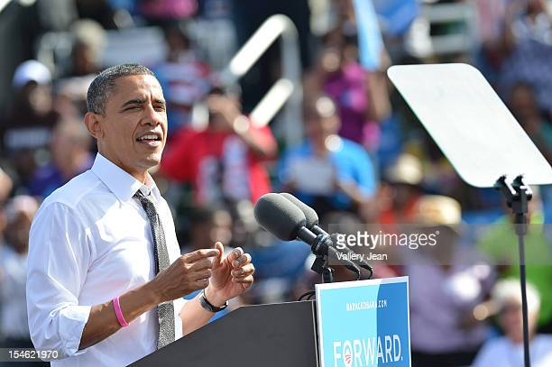 President Barack Obama speaks during a grassroots campaign event on October 23, 2012 in Delray Beach, Florida.