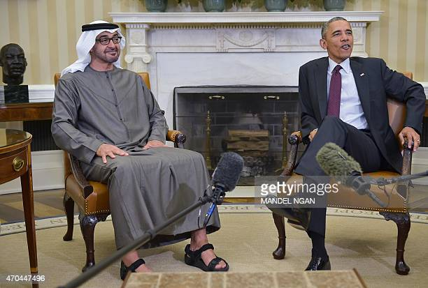 US President Barack Obama speaks during a greeting with Crown Prince of Abu Dhabi Sheikh Mohammed bin Zayed alNahyan in the Oval Office of the White...