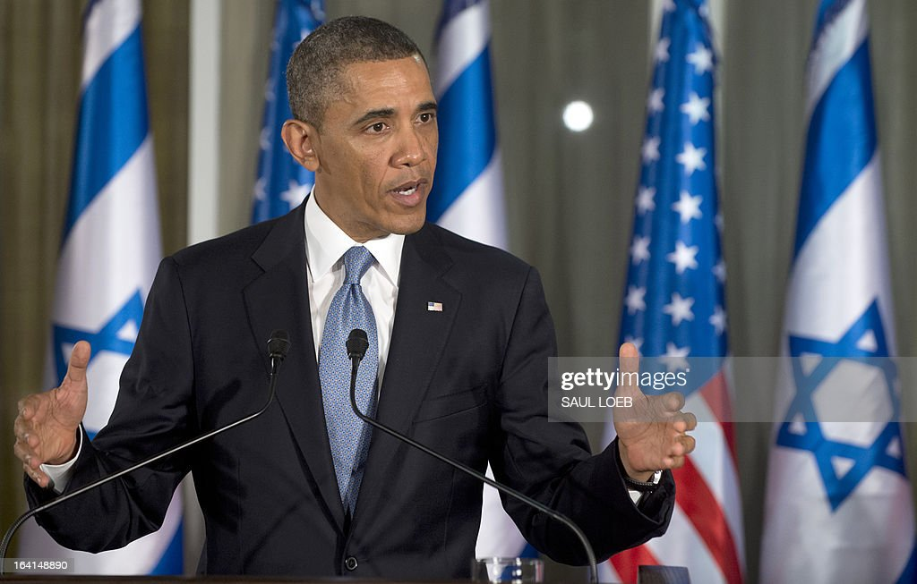 US President Barack Obama speaks during a joint press conference with Israeli Prime Minister Benjamin Netanyahu (unseen) at the Prime Minister's Residence in Jerusalem, on March 20, 2013, on the first day of Obama's three day trip to Israel and the Palestinian Territories. AFP PHOTO / Saul LOEB