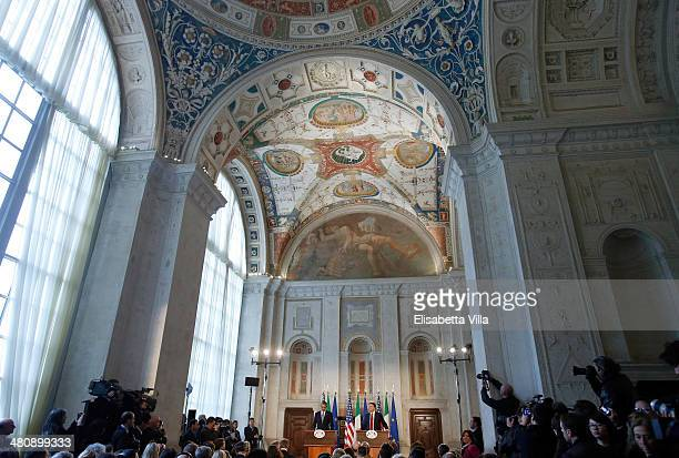 S President Barack Obama speaks during a joint press conference with Italian Premier Matteo Renzi at Villa Madama on March 27 2014 in Rome Italy The...