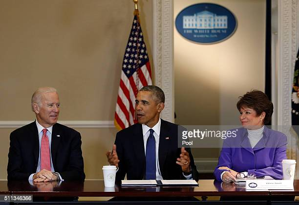 President Barack Obama speaks during a meeting of the Democratic Governors Association while Vice President Joe Biden and Senior Advisor to the...