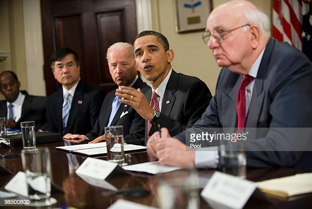 President Barack Obama speaks during a meeting of the Economic Recovery Advisory Board as Vice President Joe Biden Secretary of Commerce Gary Locke...