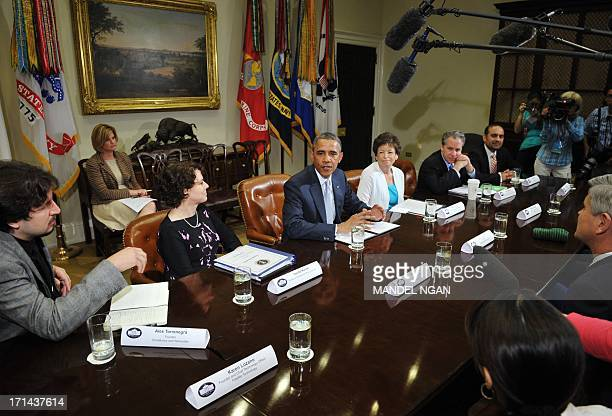 US President Barack Obama speaks during a meeting with business leaders on immigration reform on June 24 2013 in the Roosevelt Room of the White...