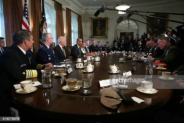 S President Barack Obama speaks during a meeting with combatant commanders and Joint Chiefs of Staff in the Cabinet Room of the White House April 5...