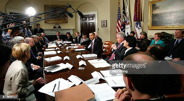 US President Barack Obama speaks during a meeting with members of his Economic Recovery Advisory Board in the Roosevelt Room of the White House May...