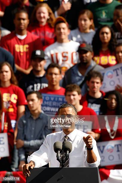 S President Barack Obama speaks during a Moving America Forward rally at the University of Southern California October 22 2010 in Los Angeles...