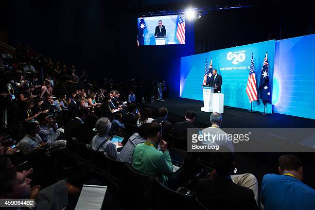 US President Barack Obama speaks during a news conference at the Group of 20 summit in Brisbane Australia on Sunday Nov 16 2014 Group of 20 leaders...