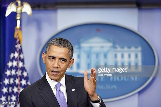 S President Barack Obama speaks during a news conference at the James Brady Press Briefing Room of the White House December 20 2013 in Washington DC...