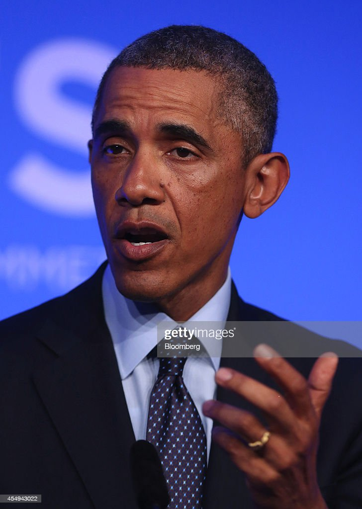U.S. President Barack Obama speaks during a news conference following the North Atlantic Treaty Organization (NATO) summit in Newport, U.K., on Friday, Sept. 5, 2014. Obama said world leaders will move to impose new economic sanctions against Russia even as Ukrainian President Petro Poroshenko and the country's pro-Russian separatists agreed on a cease-fire. Photographer: Chris Ratcliffe/Bloomberg via Getty Images