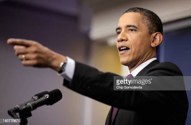 S President Barack Obama speaks during a news conference in the Brady Press Briefing Room of the White House on March 6 2012 in Washington DC...