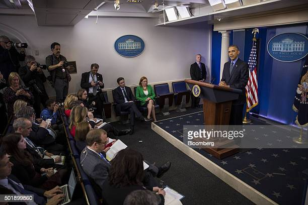 US President Barack Obama speaks during a news conference in the Brady Press Briefing Room of the White House in Washington DC US on Friday Dec 18...