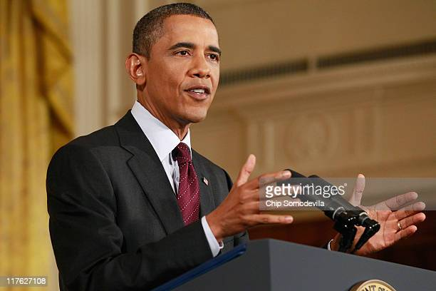 President Barack Obama speaks during a news conference in the East Room of the White House June 29 2011 in Washington DC Obama started the news...