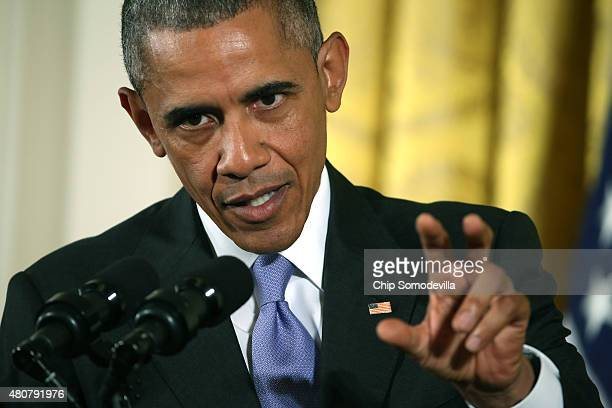S President Barack Obama speaks during a news conference on the nuclear deal with Iran in the East Room at the White House on July 15 2015 in...