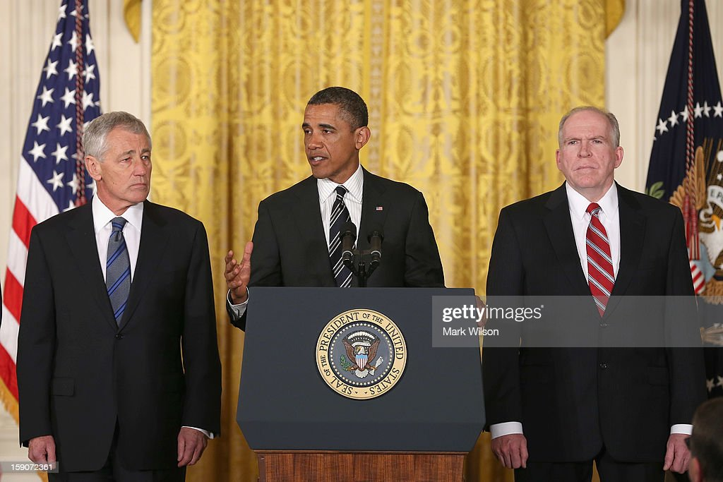 U.S. President Barack Obama (C) speaks during a news conference with chief counterterrorism adviser John Brennan (R), and former U.S. Sen. Chuck Hagel (R-NB) in the East Room at the White House on January 7, 2013 in Washington, DC. Pending approval by the Senate, the nomination of former U.S. Sen. Chuck Hagel (R-NB) as Secretary of Defense will replace Leon Panetta and chief counterterrorism adviser John Brennan will be the next director of the Central Intelligence Agency following the resignation of Army Gen. David Petraeus.