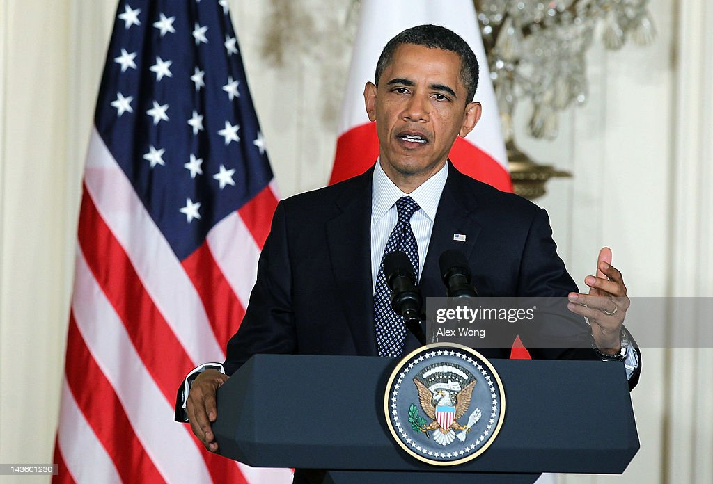 U.S. President Barack Obama speaks during a news conference with Japanese Prime Minister Yoshihiko Noda at the East Room of the White House April 30, 2012 in Washington, DC. Obama met with Noda to discuss a wide range of bilateral, regional and global issues, according to a White House news release.