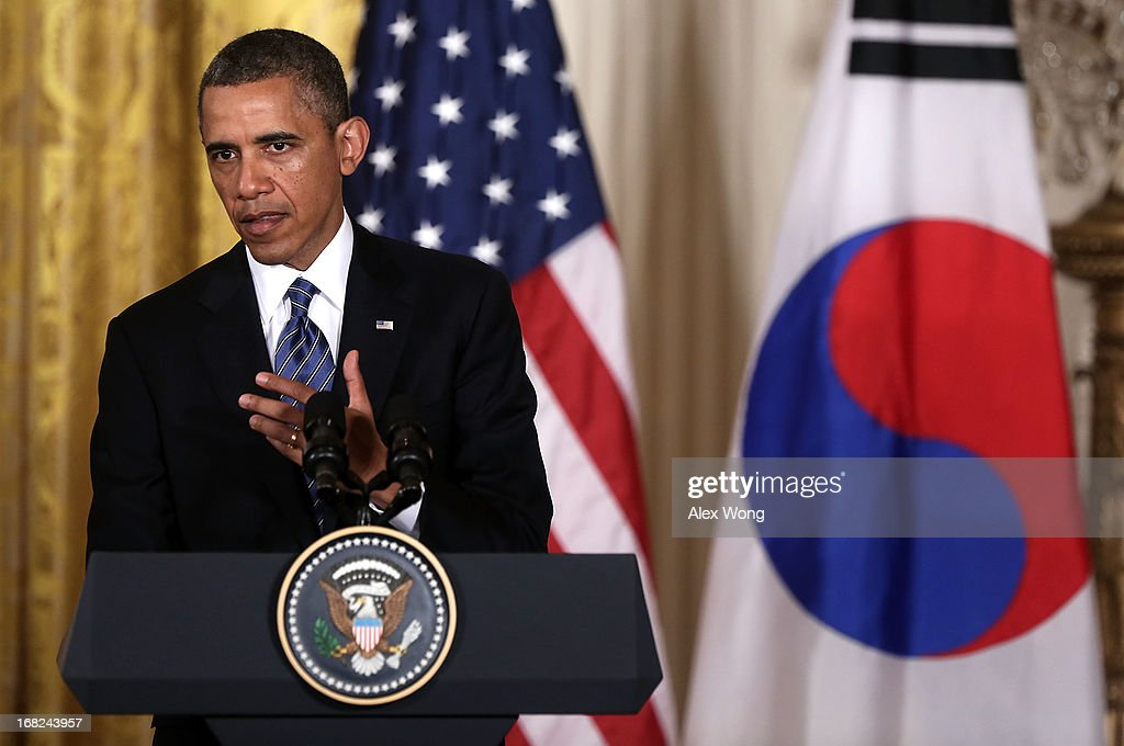 U.S. President Barack Obama speaks during a news conference with South Korean President Park Geun-hye at the East Room of the White House May 7, 2013 in Washington, DC. President Park is on a visit in Washington to hold talks with the Obama Administration on the crisis with North Korea.