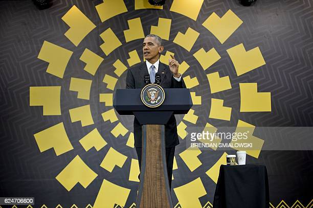President Barack Obama speaks during a press conference after attending the AsiaPacific Economic Cooperation Summit at the Lima Convention Centre...