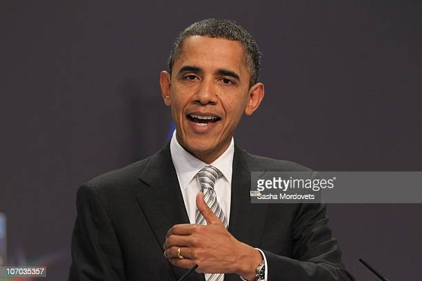 President Barack Obama speaks during a press conference during day two of the NATO Summit at Feira Internacional de Lisboa on November 20 2010 in...