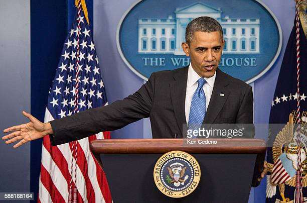 US President Barack Obama speaks during a press conference in the Brady Briefing Room of the White House Tuesday April 30 2013 in Washington DC...