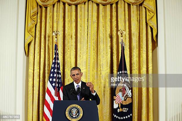 President Barack Obama speaks during a press conference in the East Room of the White House in response to the Iran Nuclear Deal on July 15 2015 in...