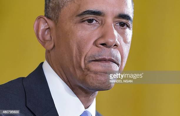 US President Barack Obama speaks during a press conference on the nuclear deal with Iran on July 15 2015 in the East Room of the White House in...