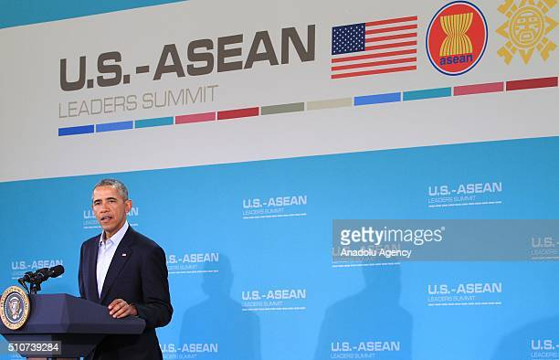 President Barack Obama speaks during a press conference on the last day of the USASEAN Summit at Sunnylands in Rancho Mirage California USA 16...