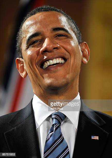 President Barack Obama speaks during a press conference with Britain's Prime Minister Gordon Brown at the Foreign and Commonwealth Office on April 1,...