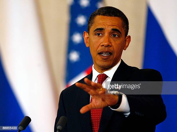 S President Barack Obama speaks during a press conference with Russian President Dmitry Medvedev after the signing ceremony of the Joint...