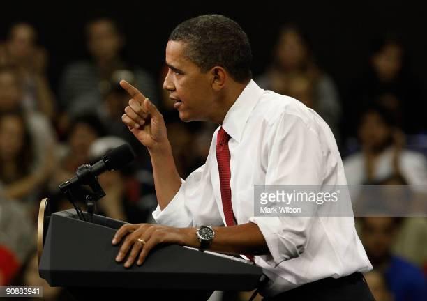 President Barack Obama speaks during a rally at University of Maryland Comcast Center on September 17 2009 in College Park Maryland President Obama...