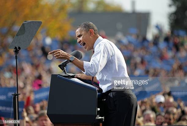 President Barack Obama speaks during a rally in Nashua while campaigning in New Hampshire as election day nears