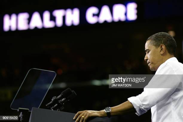US President Barack Obama speaks during a rally on healthcare at the Comcast Center in College Park Maryland on September 17 2009 Thousands of people...