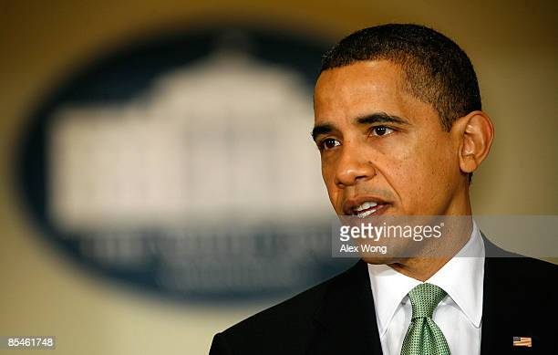 S President Barack Obama speaks during a statement at the Eisenhower Executive Office Building of the White House March 17 2009 in Washington DC...