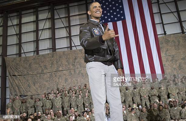 President Barack Obama speaks during a surprise visit with US troops at Bagram Air Field, north of Kabul, in Afghanistan, May 25 prior to the...